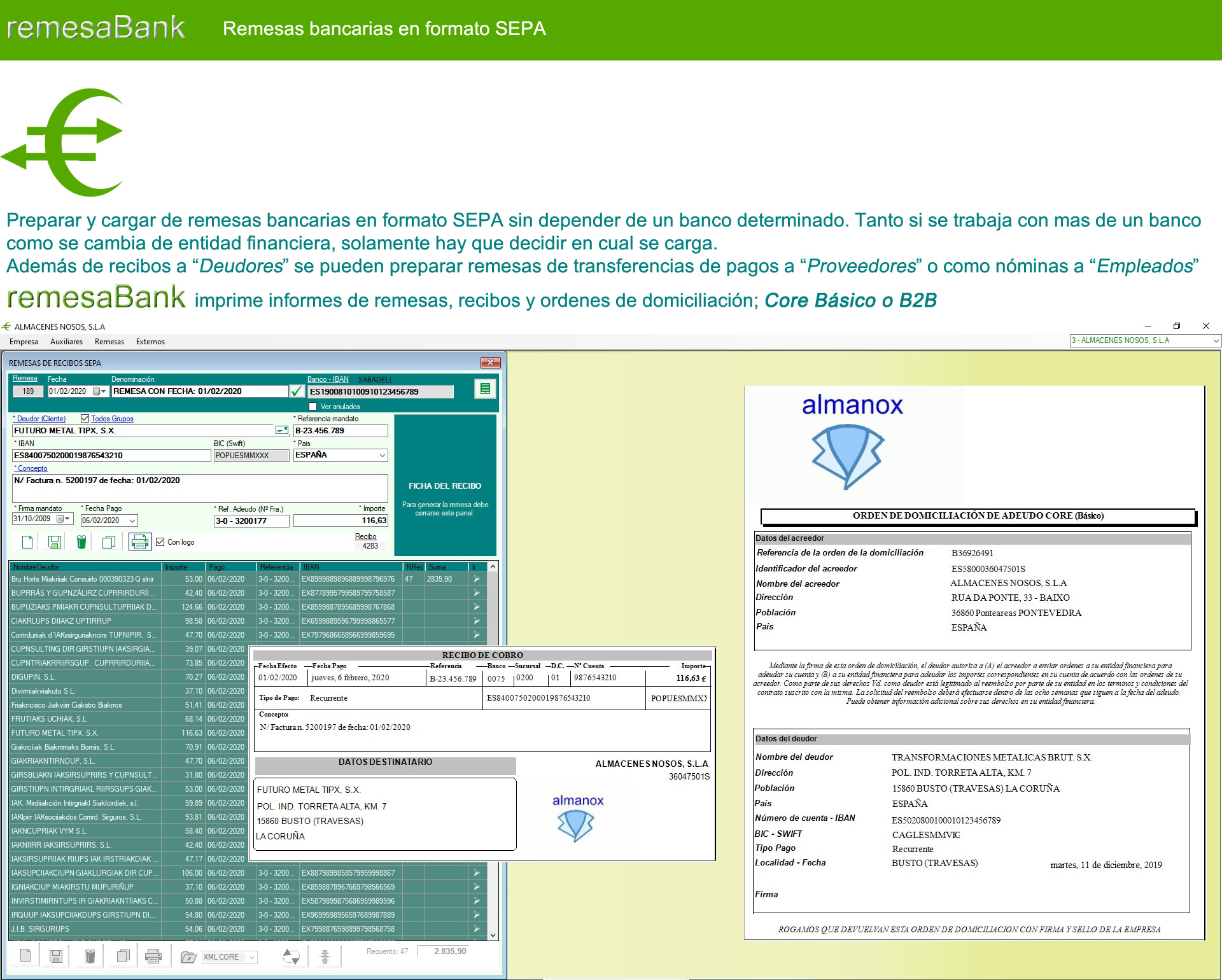 Remesabank - Remesas bancarias en formato SEPA